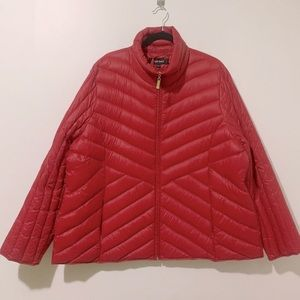 Ellen Tracy Red Down Packable Puffer Coat 3X